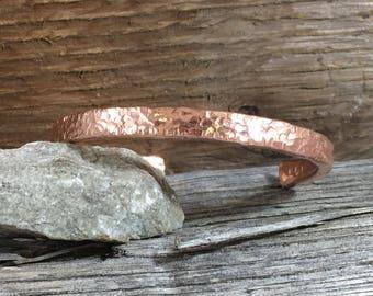 Copper Bracelet - Mens copper bracelet - Aggressively Textured Copper Cuff-Heavly Hammered Copper Bracelet-Polished Blacelet