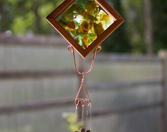 Wind Chime Earth Colors Beach Glass Copper Outdoor Windchime Suncatcher