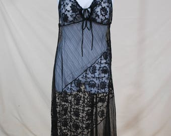 VTG Romantic Sheer Black Lace Maxi Dress   VTG 90s Gothic Slip Dress