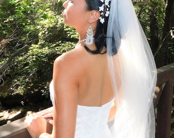 WHITE Silver Wedding TIARA Hair Accessory Jewelry Comb Wedding Bridal Crystal Pearl Beads