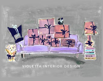 Personalized Notecards: Lavendar Sofa
