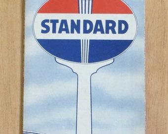 Vintage 1940's Standard Oil Co. Wyoming Advertising Road Map