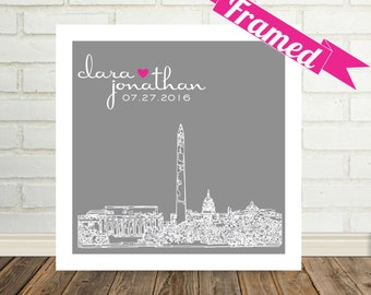 Unique Wedding Gift Personalized Wedding Art FRAMED City Skyline Poster Any City Worldwide Unique Wedding Memento Engagement Gift for Couple