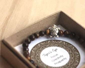 Golden Brown Tiger's Eye Bracelet for men for focus, creativity and prosperity- Turtle bracelet, Prosperity bracelet, graduation gift