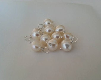 Freshwater Pearl - Add on charm, add on pendant, wire wrapped pearl, freshwater pearl 10 Pcs