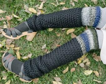 Black Space Leg Warmers/Crochet Leg Warmers/Knee High Leg Warmers/Crochet Legwarmers/Hand Woven Wool blend Leg warmers