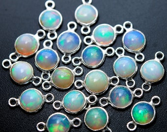 925 Sterling Silver,Ethiopian Opal Coins Pendant Connector,2 Piece of 12mm