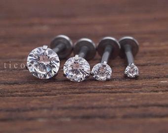 Triple Helix earring Cartilage earring 16g Cartilage piercing Helix piercing Tragus earring Tragus piercing Barbell Zircon Labret