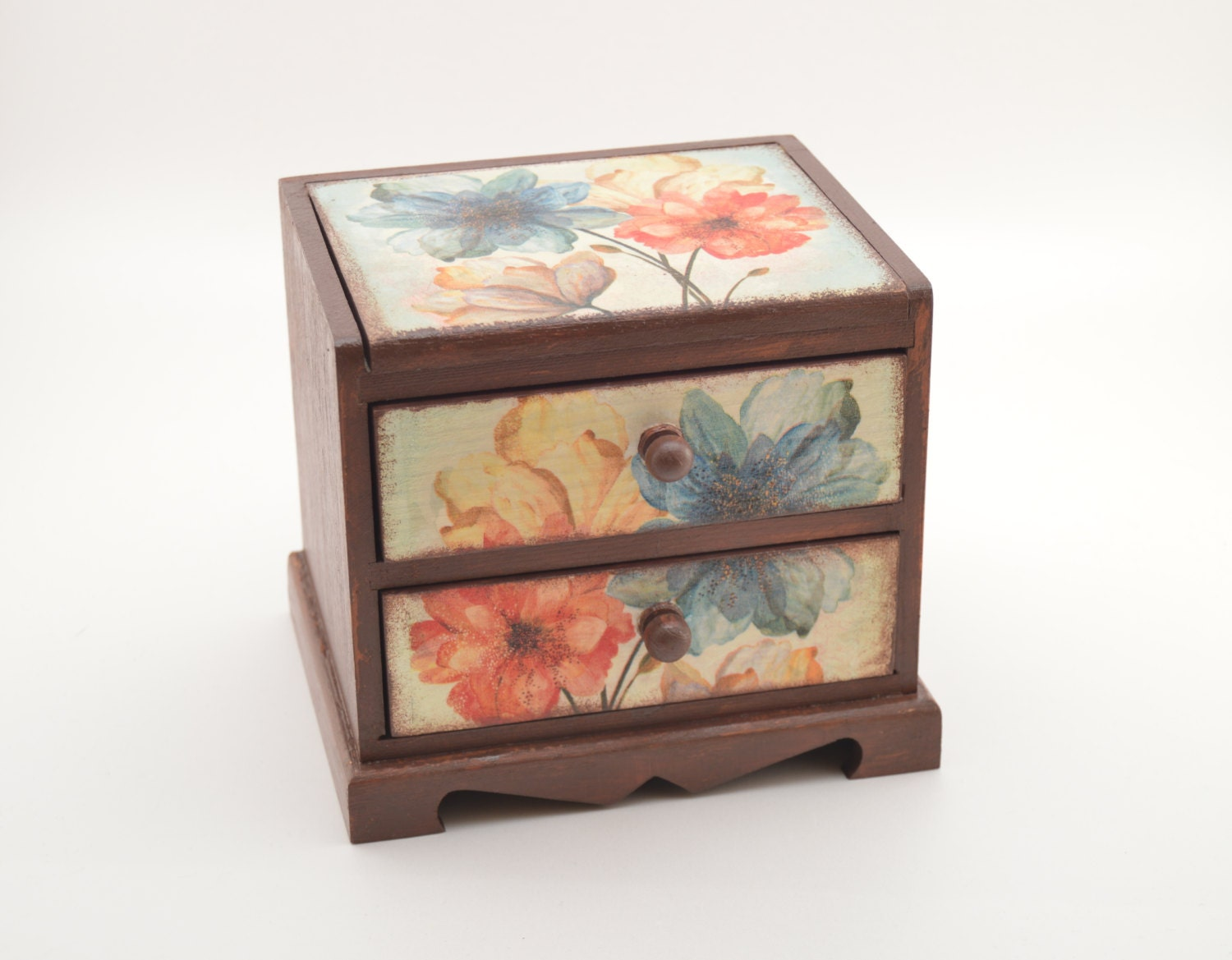 Decoupage flower commode decoupage jewelry commode flower