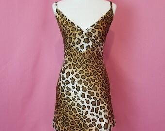 90s Leopard Mini Dress // S // 1990s