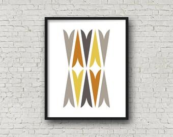 Printable Art, Fall Decor, Mid Century Art, Mid Century Modern, Minimalist Art, Printable Wall Art, Digital Print, Modern Art, Tribal Art