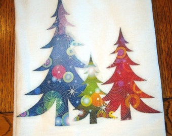 Flour Sack Kitchen Towel Colorful Trees Christmas
