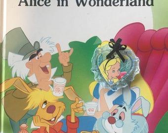 Alice wonderland vintage upcycled brooch