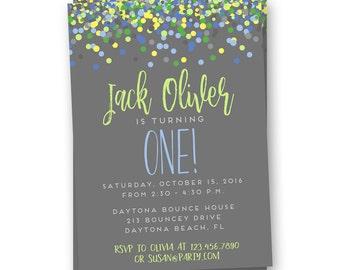 Polka Dot Birthday Invitation, Boys First Birthday Invite, First Birthday Invitation, Confetti Invitation, First Birthday Party