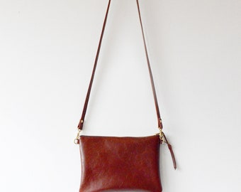 Leather Crossbody Bag In Whiskey Leather Purse Minimalist Bag Small Leather Bag Leather Gift Leather Handbag Birthday Gift Handmade Bag