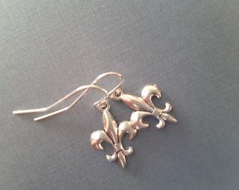 Silver Fleur de Lis Drops . Earrings