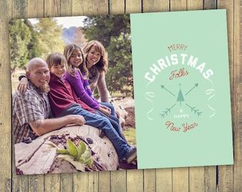 Photo Christmas Card - Digital File (Merry Christmas Folks)