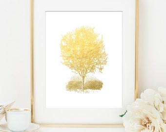 OLIVE TREE Faux Gold Foil Art Print - White & Gold - Home Decor Wall Art - Imitation Gold Leaf - Gold Tree Print - Office Decor