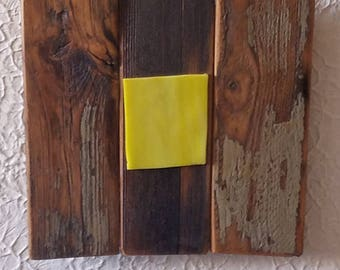 distressed Wood with bright lemon yellow glass