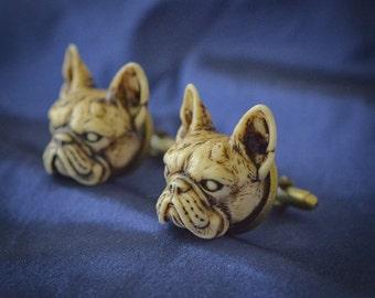 French Bulldog Cufflinks - Victorian Hand made resin French Bulldog or Boston Terrier cuff links