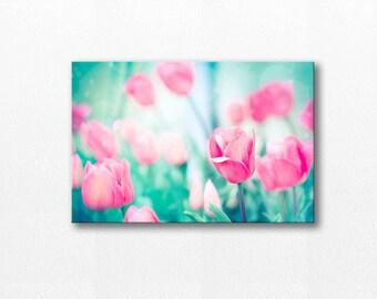 tulips photography canvas print floral photography 24x36 fine art photography flower canvas gallery wrap nursery decor spring pink aqua