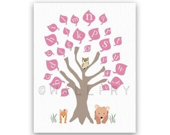 Alphabet print nursery art. ABC nursery decor, owl baby nursery art print. Woodland wall art for kids, children art. Art print by WallFry