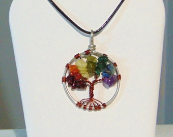 Tree of Life Chakra Rainbow Pendant Necklace (sm.)