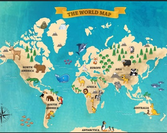 World map kids world map with funny animals and illustration kids world map with funny animals wallpaper funy world map full covering wall mural gumiabroncs Images