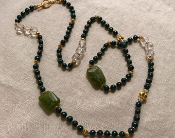 Aventurine and Navy Pearl Necklace