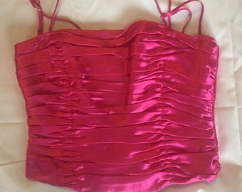 Flores&Flores Hot pink rouged crop top. Size 8.