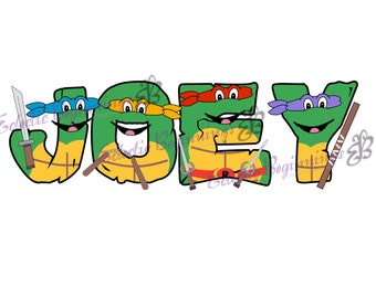 ninja turtle letters etsy rh etsy com ninja turtles clipart ninja turtle face clipart