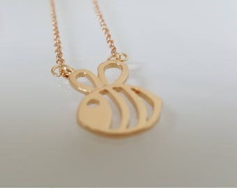Cute Bumble Bee Necklace Gold Tone Jewellery Cut Out Honey
