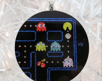 Pac-Man glass and glitter ornament