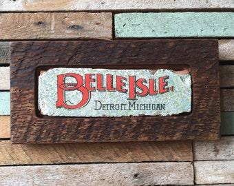 Belle Isle Detroit Michigan Vintage Lettering on Brick Face, framed in Historic Detroit Reclaimed Wood, Original Artwork Print wall hanging