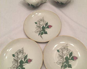 Vintage Cream and Sugar Set With Small Plates