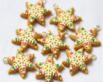 20pcs/pack polymer clay Christmas snow with ring pendant charm 28*35mm free shipping