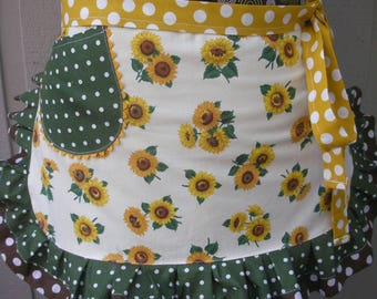 Womens Aprons - Girls Sunflower Aprons - Aprons with Sunflowers -  Womens Half Aprons  - Yellow Sunflower Waist Aprons - Annies Attic Aprons
