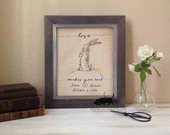 "The Velveteen Rabbit ""Love Makes You Real"" Quote - 2 Year Anniversary - Wedding - Anniversary - Personalized Art Print - Frame not included"