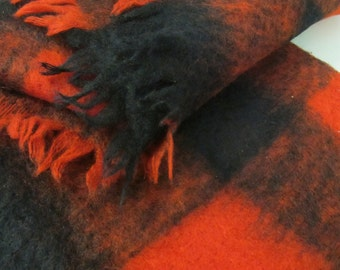 Scottish Mohair Blanket Lap Blanket Mohair Throw Glen Cree Mohair Red and Black