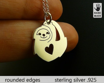 Cute SLOTH Handmade Sterling Silver .925 Necklace in a gift box