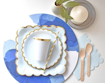 Pastel blue paper plates, cups, napkins and straws for 8 | wedding plates | party tableware for baby showers or birthday