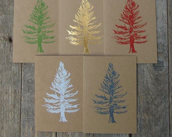 Pack of 5 Coloured Christmas Tree Cards