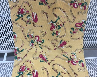 40s 50s novelty fabric swatch.. yellow musicians/ music notes 17 by 25 inches