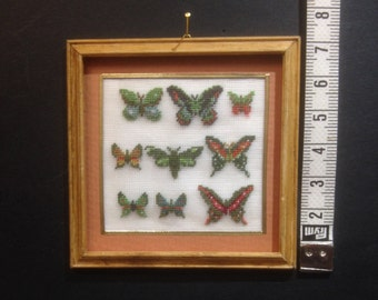 Picture with butterflies embroidered on silk gauze