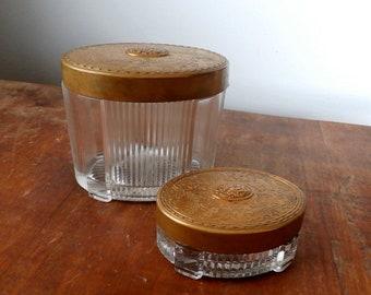 Antique / Vintage Glass Vanity Dresser Jars