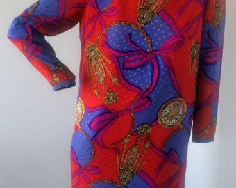 vintage dress, 80s shift Style dress with impactful summer prints sz med