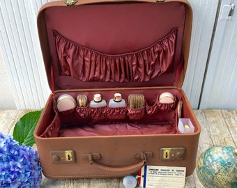 Vintage French 1930s Leather Suitcase/Vanity Case with contents