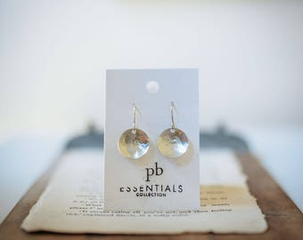 STERLING SILVER disc earrings, Lucy Earrings, Classic Design, Simple earrings, pommier-benoit, essentials collection, Rustic, timeless