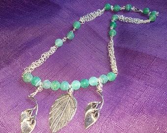 Frosted green agate beaded leaf necklace