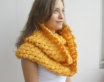 Infinity Loop Scarf Mustard Yellow For Her for women  and Gift under 60 Christmas Gift